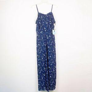 CeCe Navy Floral Wide Leg Jumpsuit Sleeveless